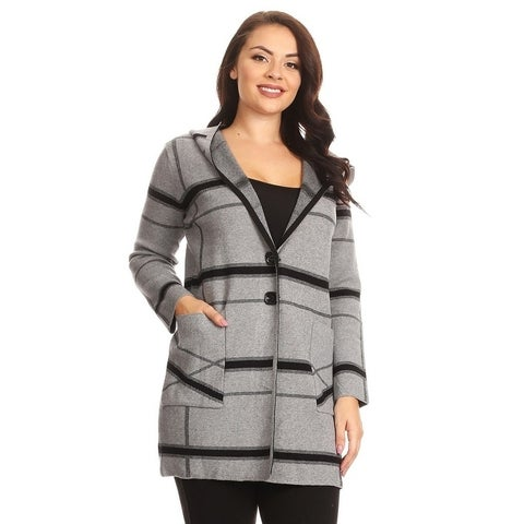 High Secret Women's Black/Gray Plaid Hooded Coat with Pockets