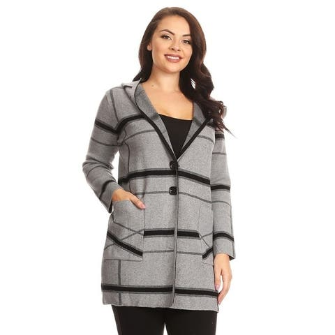 6599c8f57c High Secret Women s Black Gray Plaid Hooded Coat with Pockets
