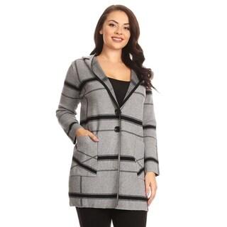 High Secret Women's Black/Gray Plaid Hooded Coat with Pockets