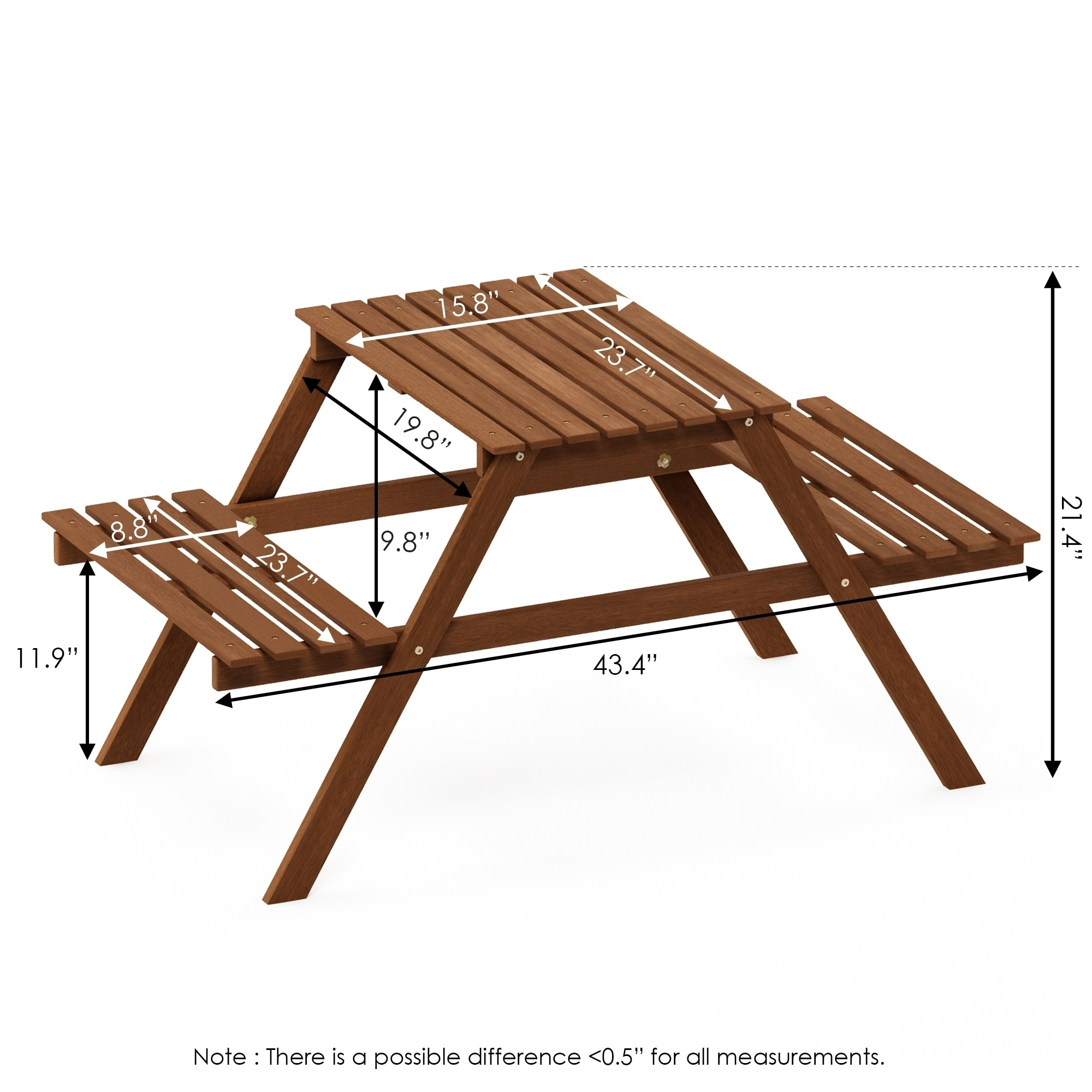 - Shop Ormond Hardwood Kids Picnic Table And Chair Set In Teak Oil