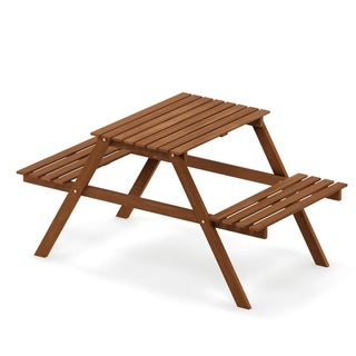 Havenside Home Ormond Hardwood Kids Picnic Table and Chair Set in Teak Oil