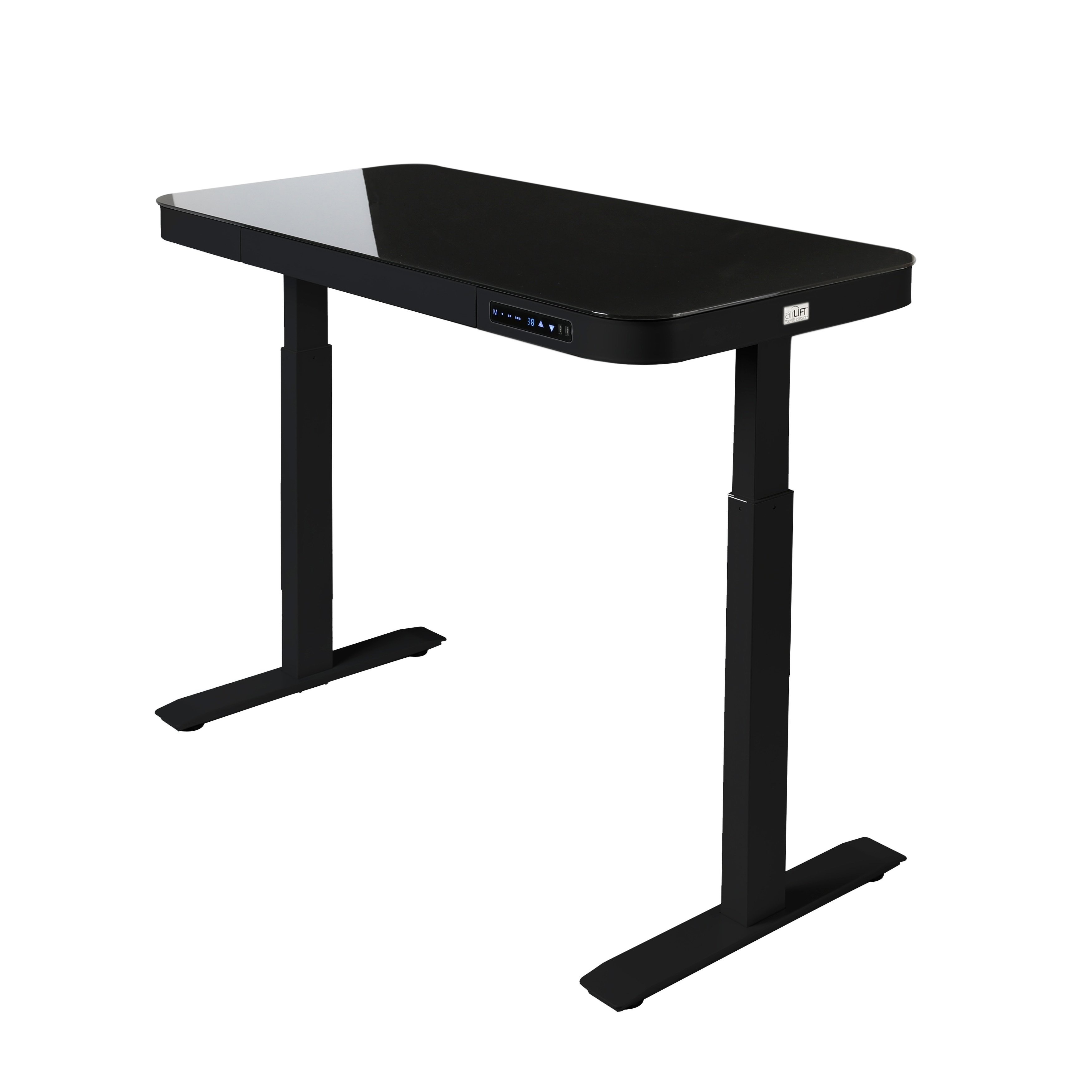 brand new ac206 2a29e AIRLIFT 47 in Tempered Glass Electric Standing Desk Top Dual 2.4A USB  Charging Port Height Adjustable to 47 in H