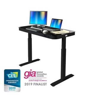 "AIRLIFT 48"" Tempered Glass Electric Standing Desk w/ Dual USB Charging Port and Drawer (Max. Height 29"" to 47"")"