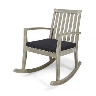 Daneen Traditional Indoor Acacia Wood Rocking Chair with Cushions by Christopher Knight Home