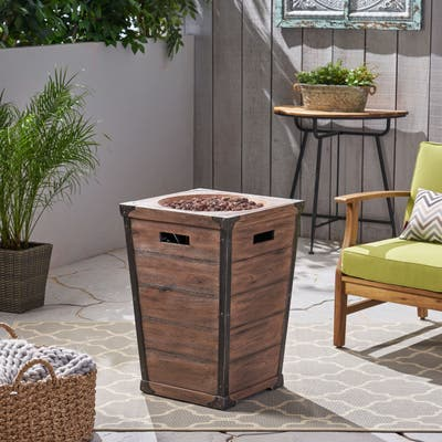 """Delany Outdoor 19.5"""" Column Light Weight Concrete Fire Pit - 40,000 BTU by Christopher Knight Home"""