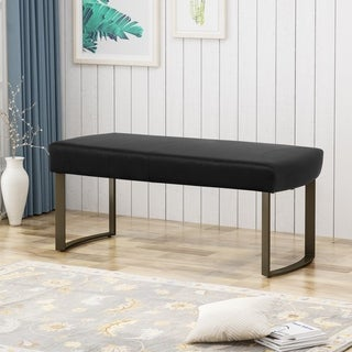 Bestwick Modern Velvet Bench with Brushed Brass Metal Legs by Christopher Knight Home