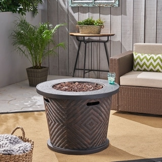 """Meyer Outdoor 32"""" Circular Light Weight Concrete Fire Pit - 40,000 BTU by Christopher Knight Home"""