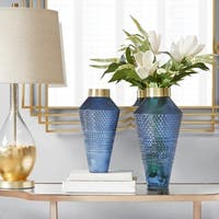 Madison Park Camden Blue Textured Vase 2-Size Option
