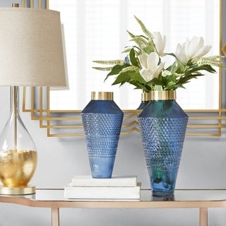 Madison Park Camden Blue Textured Vase 2-Size Option
