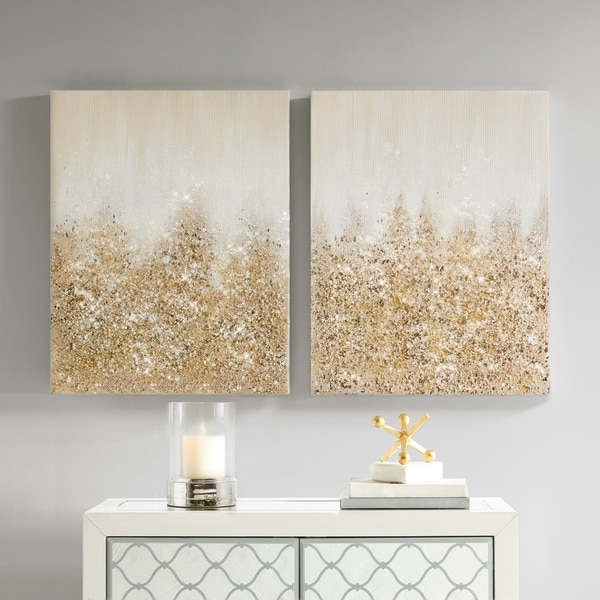 Madison Park Golden Glimmer Gold 100-Percent Hand Brush Embellished Canvas(Set of 2). Opens flyout.