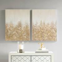 Madison Park Golden Glimmer Gold 100-Percent Hand Brush Embellished Canvas(Set of 2)