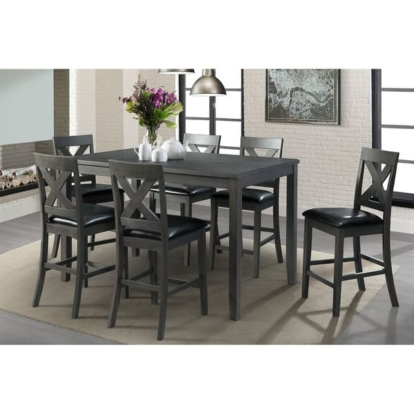 Picket House Furnishings Alexa 7 Piece Grey Counter Height Dining Set Overstock 25560387
