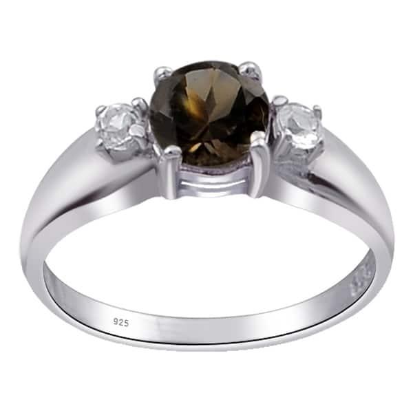 Sterling Silver Smoky Topaz Halo Statement Ring Size 7