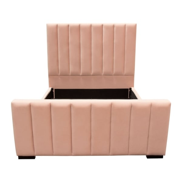 Diamond Sofa Venus Vertical Channel Tufted Queen Bed in Blush Pink Velvet