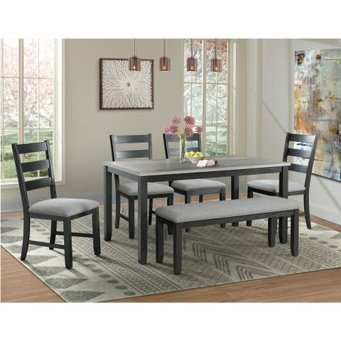 Picket House Furnishings Kona Gray 6PC Dining Set-Table, Four Chairs & Bench