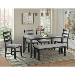 Link to Picket House Furnishings Kona Gray 6PC Dining Set-Table, Four Chairs & Bench Similar Items in Dining Room & Bar Furniture