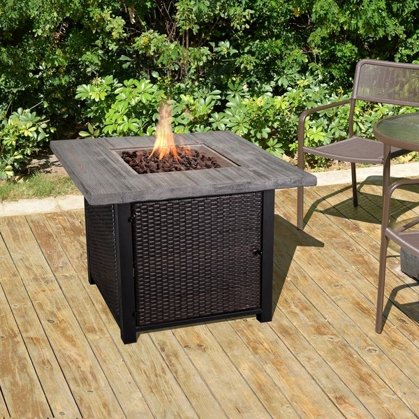 "Fire Tables Fire Pit 33.5"" Outdoor Rattan Wicker Propane Fire Pits Square with PVC Beige Cover Lava Rocks Support"