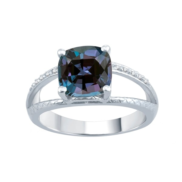 Natural Color Change Alexandrite Sterling Silver Engagement Christmas Gift Ring