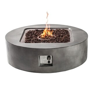 "Fire Tables Fire Pit 42.3"" Outdoor Propane Fire Pits Round with PVC Beige Cover Lava Rocks Support"