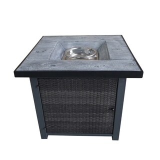 """Fire Tables Fire Pit 29.9"""" Outdoor Rattan Wicker Propane Fire Pits with PVC Beige Cover Lava Rocks Support"""