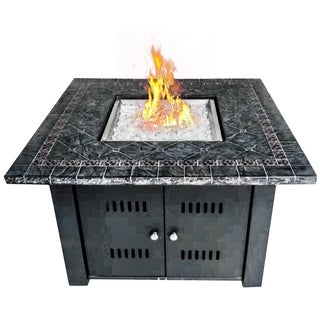 """Fire Tables Fire Pit 39.8"""" Outdoor Propane Fire Pits Square with PVC Beige Cover Lava Rocks Support"""
