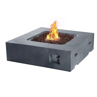 "Fire Tables Fire Pit 41.9"" Outdoor Propane Fire Pits Square with PVC Beige Cover Lava Rocks Support"