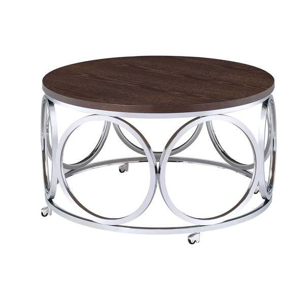 Picket House Furnishings Jayme Chrome/ Walnut Metal and Wood Round Coffee Table