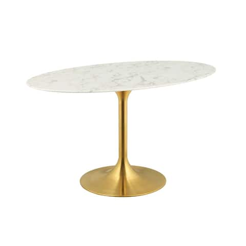 """Lippa 54"""" Oval Dining Table - Gold White"""