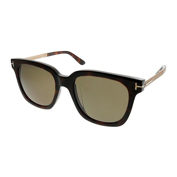 ba2742d9066 Tom Ford Square TF 474 D 55E Unisex Dark Havana Frame Brown Gradient Lens  Sunglasses
