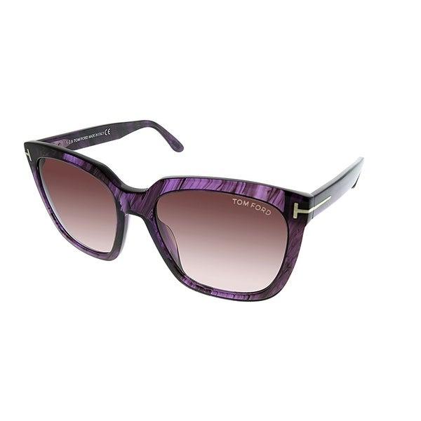 6858265e435f Tom Ford Square TF 502 Amarra 83T Women Purple Striated Frame Brown  Gradient Lens Sunglasses