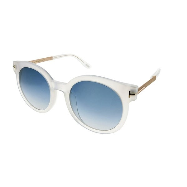 33405b213b9f Tom Ford Round TF 475 D 21X Unisex Matte Transparent Frame Blue Gradient  Lens Sunglasses. Click to Zoom
