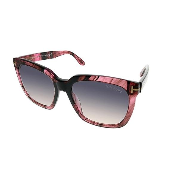 4e7ec4eb097 Tom Ford Square TF 502 Amarra 74B Women Pink Striated Frame Grey Gradient  Lens Sunglasses