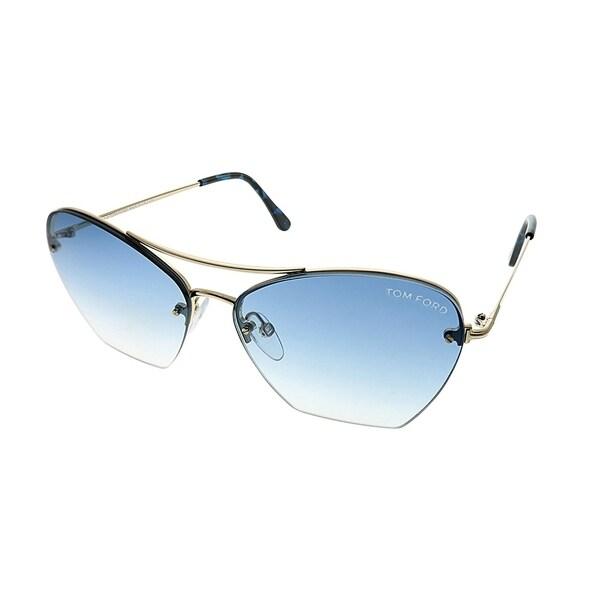 85bf9afdf0 Tom Ford Cat-Eye TF 507 Annabel 28W Women Gold Frame Grey Gradient Lens  Sunglasses