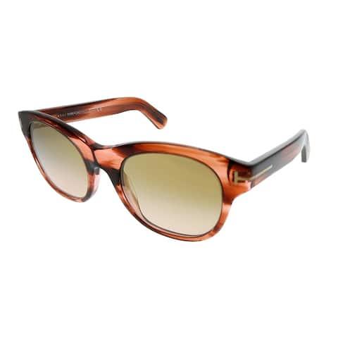 Tom Ford Square TF 532 Ally 44F Unisex Light Havana Frame Brown Gradient Lens Sunglasses