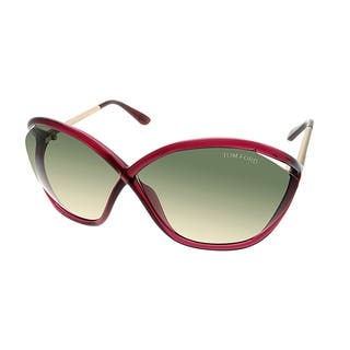 37f44b809c35 Tom Ford Oval TF 529 Bella 77B Women Transparent Berry Frame Green Gradient  Lens Sunglasses