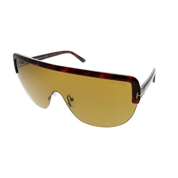 be378d25a6 Tom Ford Shield TF 560 Angus 54E Unisex Red Havana Frame Brown Lens  Sunglasses