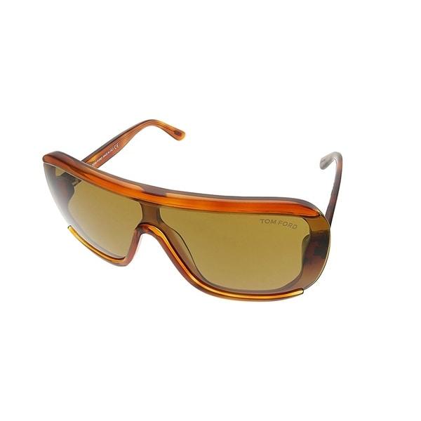 dbc5a17507 Tom Ford Shield TF 559 Porfirio 53E Unisex Blonde Havana Frame Brown Lens  Sunglasses