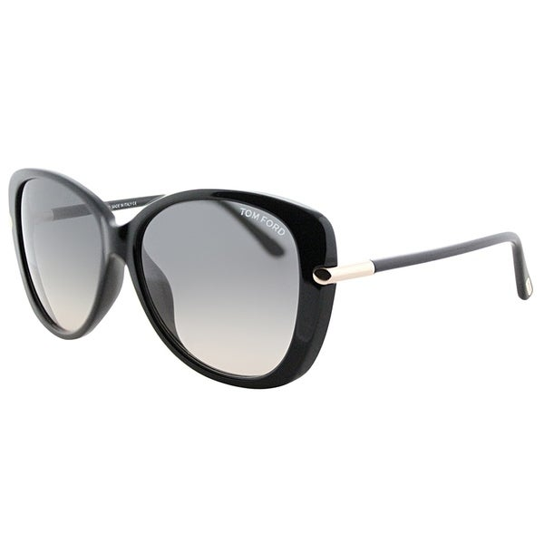 81ed6568095 Tom Ford Butterfly FT 9324 Linda 01B Women Shiny Black Frame Grey Gradient  Lens Sunglasses