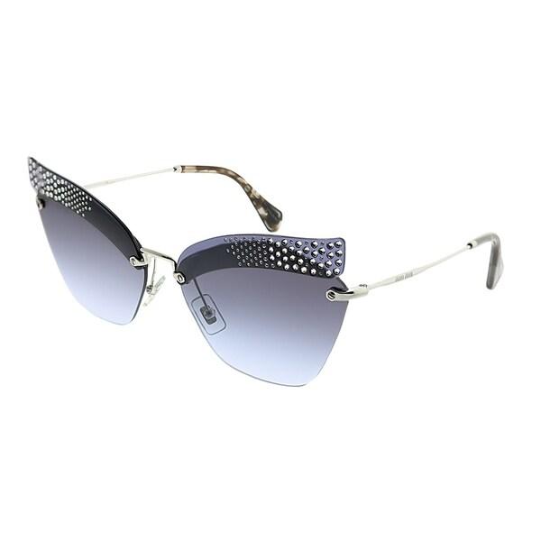 66664106a39d MIU MIU Cat-Eye MU 56TS KJG2F0 Women Dark Blue Transparent Frame Blue  Gradient Lens