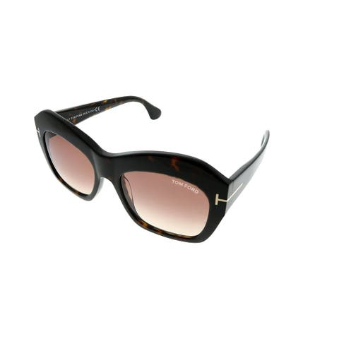 f37da253e2 Tom Ford Fashion TF 534 Emmanuelle 52F Women Dark Havana Frame Brown  Gradient Lens Sunglasses
