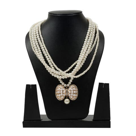 Pretty Multilayer Pearl Necklace by Gempro - White - drop length: 20 inches/ 50.8 cm