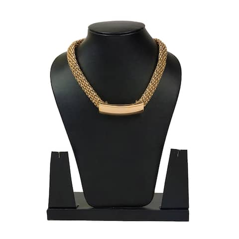 Trendy Gold Tone Flat Popcorn Chain Necklace By Gempro - Golden - drop length: 14 inches/ 35.56 cm