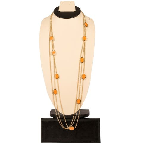 Trendy Stationed Long Necklace By Gempro - Orange - drop length: 34 inches / 85 cms