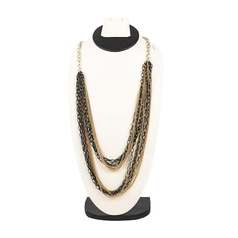 Stylish Black & Gold Multilayer Necklace By Gempro - gold, black - drop length: 34 inches/ 86.36 cm