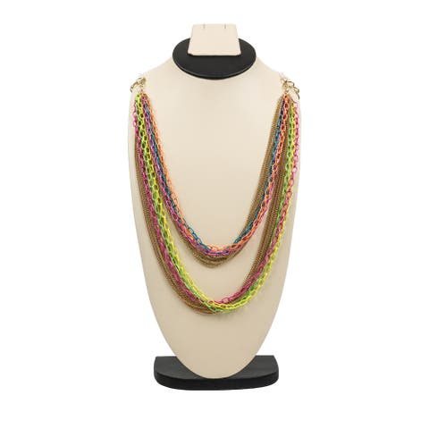 Pretty Multilayer Gold and Neon Link Chain Necklace By Gempro - MultiColor - drop length: 34 inches/ 86.36 cm