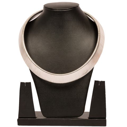 Stylish Silver Tone Bold Choker Statement Necklace By Gempro - drop length: 42 inches / 105 cms