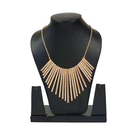Stylish Fashion Sparkling Fan Necklace by Gempro - drop length: 22 inches/ 55.88 cm