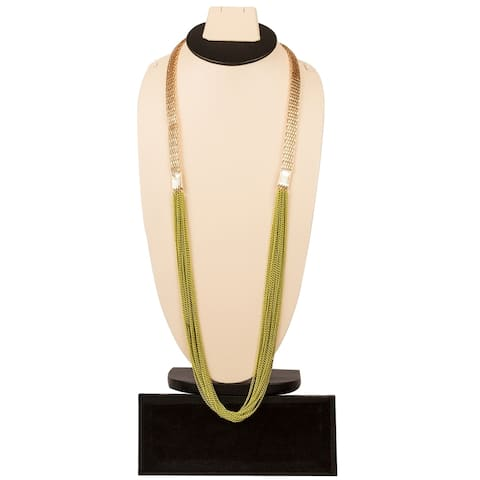 Stylish Green and Gold Necklace By Gempro - drop length: 34 inches / 85 cms