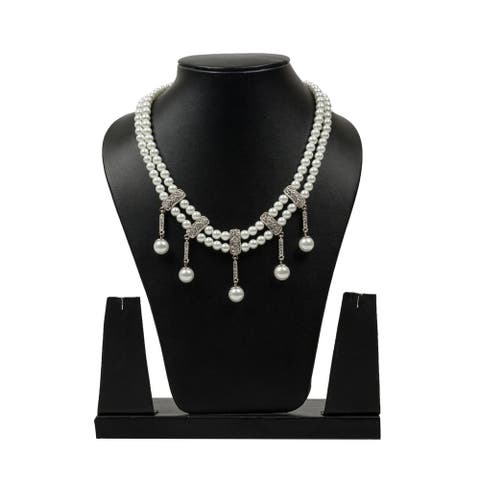 Classic Sparkling Pearl Necklace by Gempro - White - drop length: 18 inches/ 45.72 cm