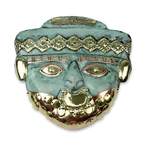 Handmade Bearded Nobleman Copper And Bronze Mask (Peru)